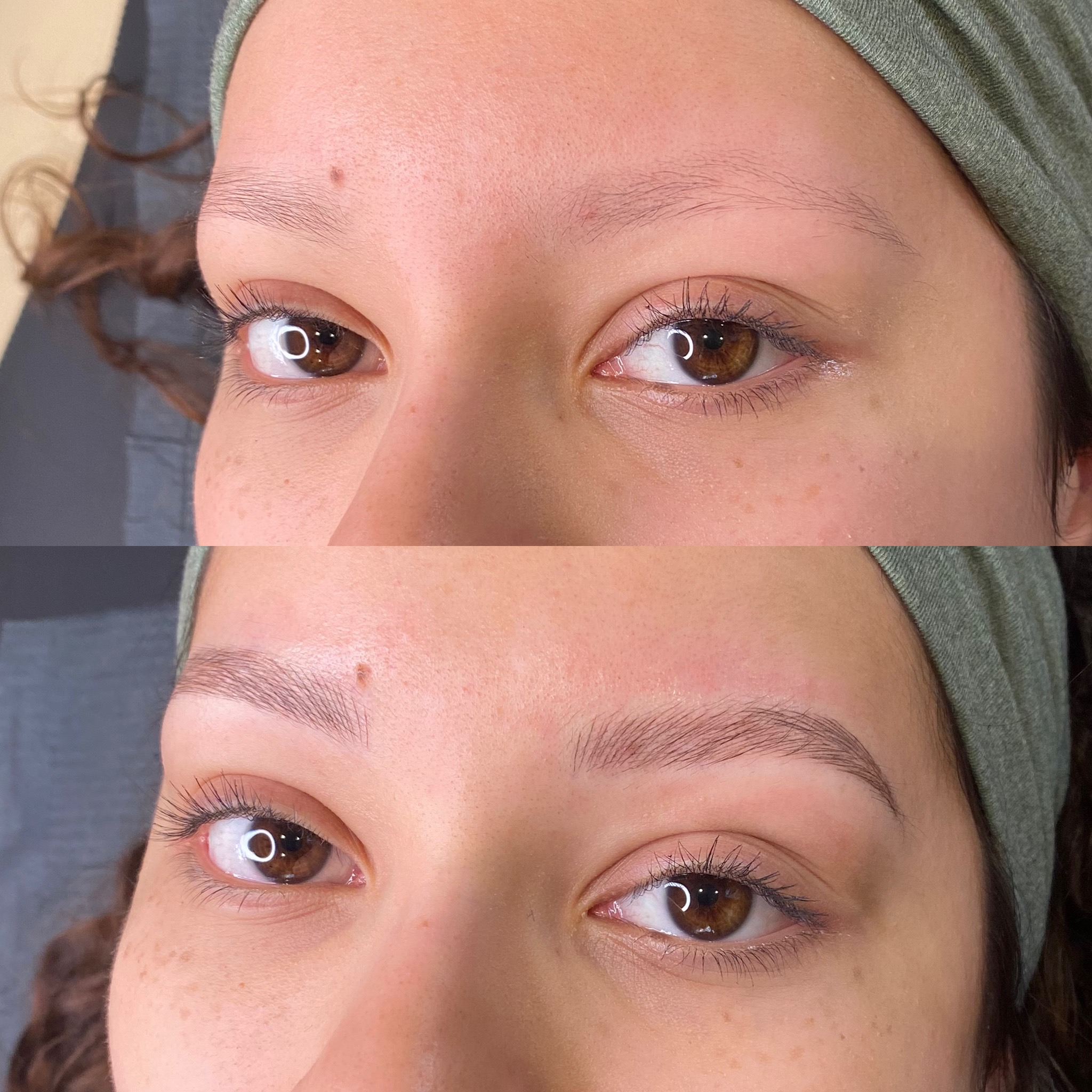 photo of eyebrows with microblading